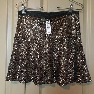 Express gold sequin skirt.
